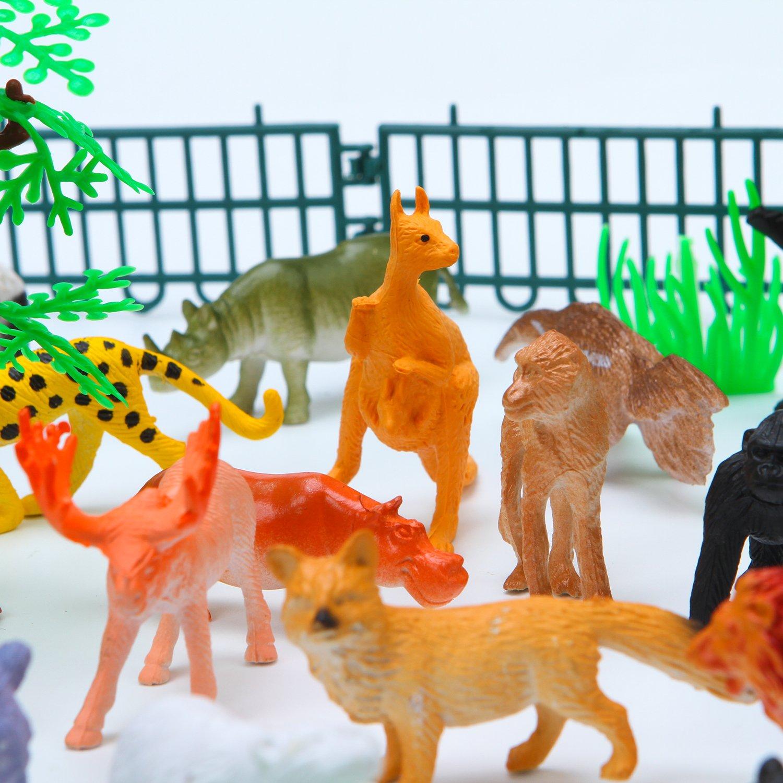 Elcoho 55 Pack Mini Jungle Animals Toys Animals Figures Set