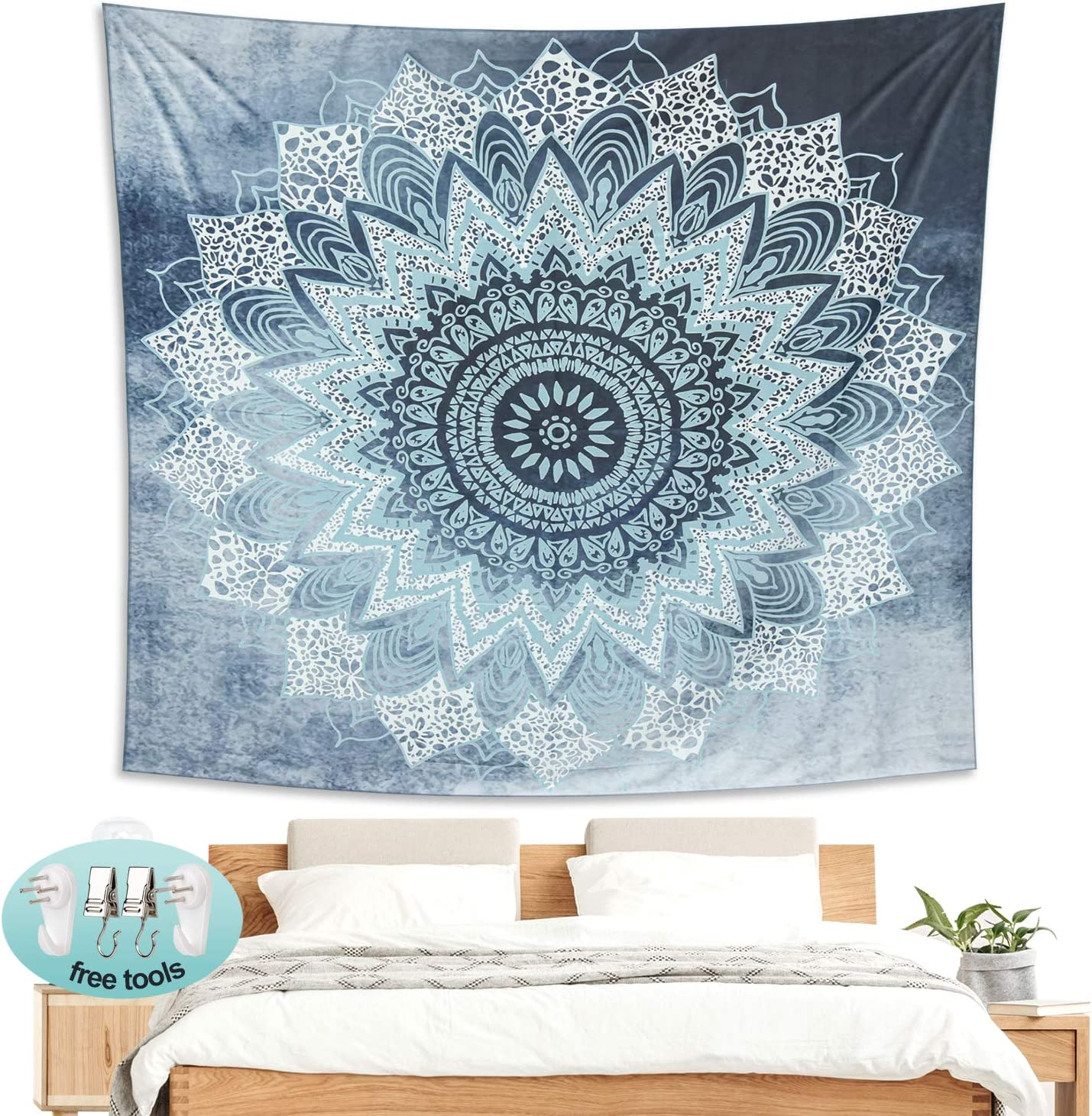 Magicalmai Tapestry Wall Hanging, Indian Mandala Wall Tapestry Hippie Bohemian Tapestries Wall Art Home Decorations for Living Room Bedroom Dorm Decor Grey 82.7x59.1 Inches