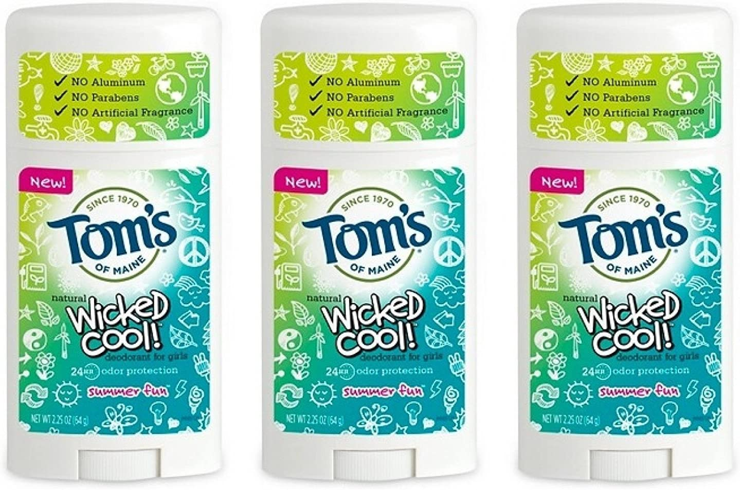 Amazon Com Toms Of Maine Natural Wicked Cool Deodorant For Girls Summer Fun 2 25 Oz Pa Health Personal Care