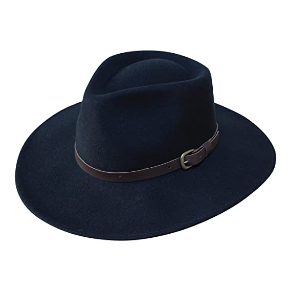 Borges   Scott B S Premium Lewis - Wide Brim Fedora Hat - 100% Wool Felt -  Water Resistant - Leather Band  Amazon.co.uk  Clothing c8c91c29d16b