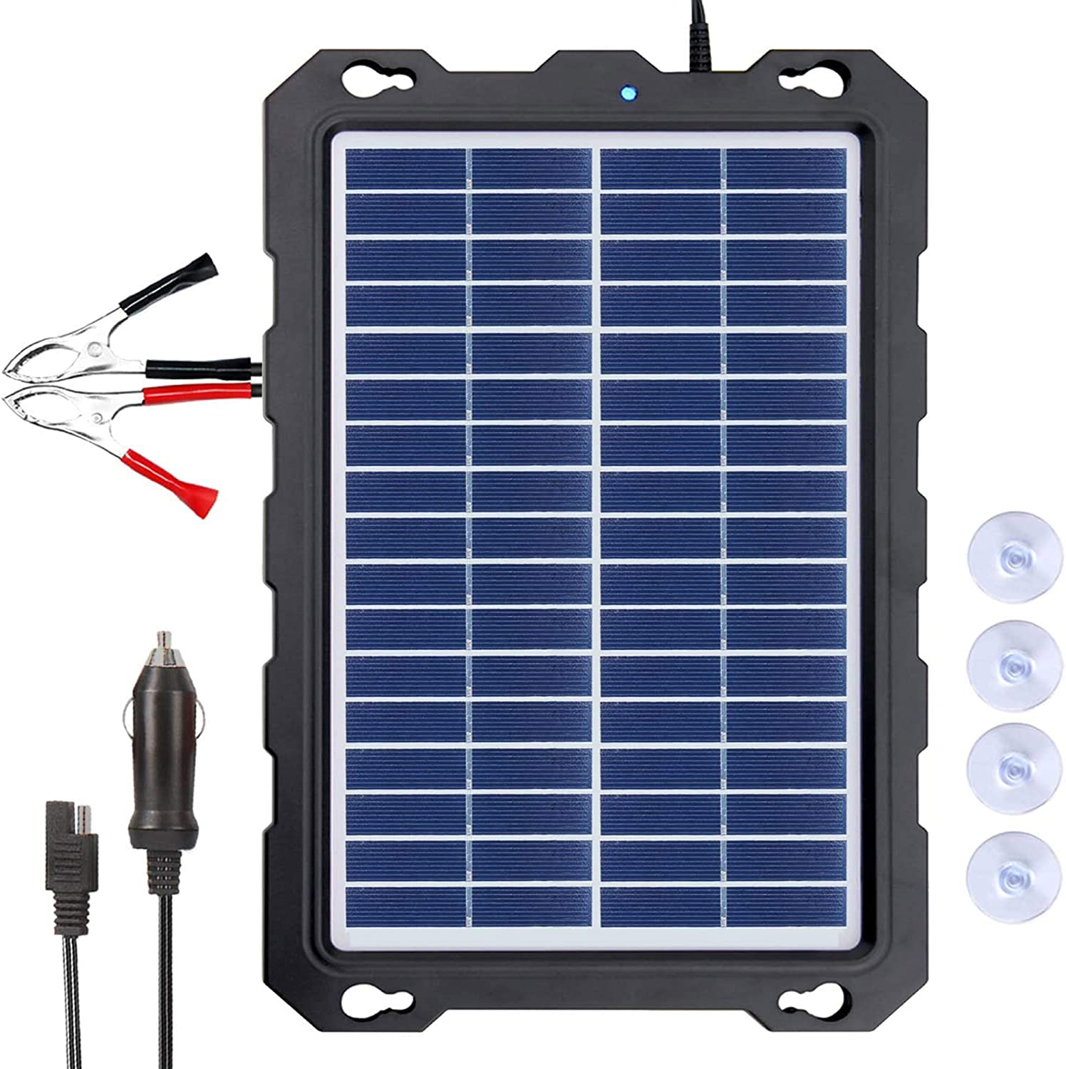 POWOXI 7.5W-Solar-Battery-Trickle-Charger-Maintainer -12V Portable Waterproof Solar Panel Trickle Charging Kit for Car, Automotive