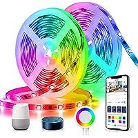 DreamColor LED-strip 10m, TASMOR LED-strip RGB+IC, LED-strip compatibel met Alexa Google Home APP-bediening…