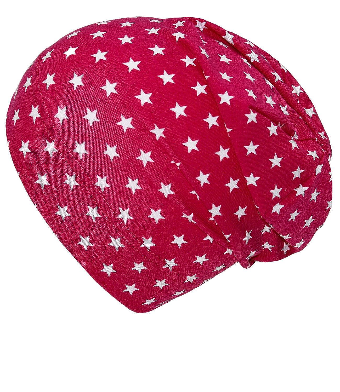 EveryHead Fiebig Mädchenbeanie Jerseybeanie Sommerbeanie Beanie Jerseymütze Sommermütze zweifarbig mit Sternchen für Kinder (FI-87280-S17-MA6) inkl Hutfibel