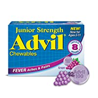 Children's Advil Junior Strength Chewable Pain Relief Medicine and Fever Reducer, 100 Mg Children's Ibuprofen for Ages 2-11, Grape - Pack of 24