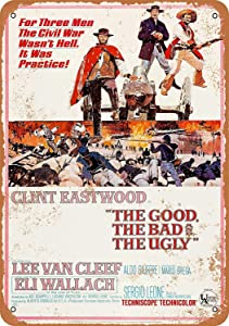 SmartCows 8 x 12 Metal Sign - Vintage Look 1966 The Good, The Bad and The Ugly Movie