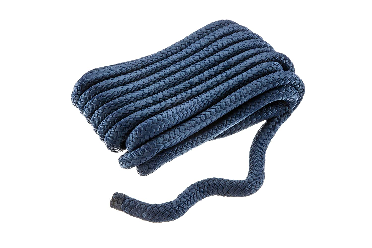 Pre-Shrunk Various Sizes and Colors Seachoice Double Braid Nylon Dock Line with Eye Splice Heat Stabilized