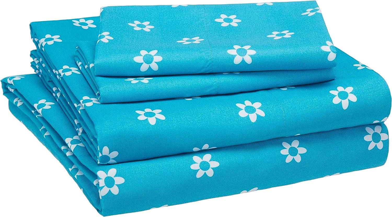 AmazonBasics Kid's Sheet Set - Soft, Easy-Wash Microfiber - Queen, Blue Flowers