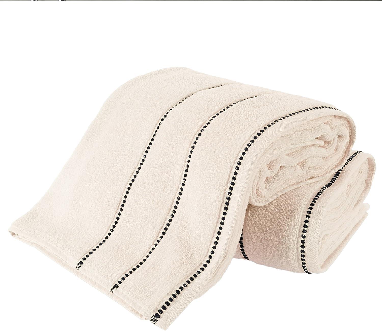Luxury Cotton Towel Set- 2 Piece Bath Sheet Set Made From 100% Zero Twist Cotton- Quick Dry, Soft and Absorbent By Lavish Home (Bone / Black)