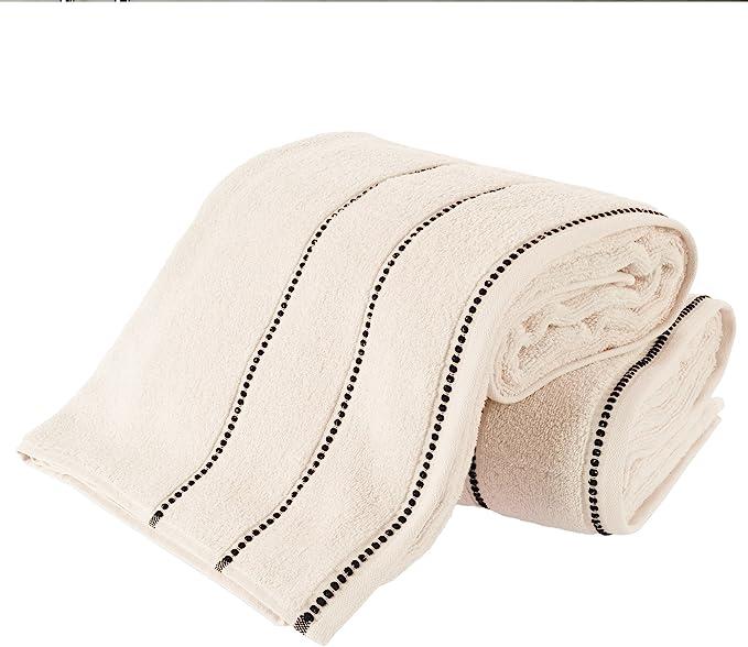 Bedford Home Quick Dry 100Percent Cotton Zero Twist 6Piece Towel Set-Bone
