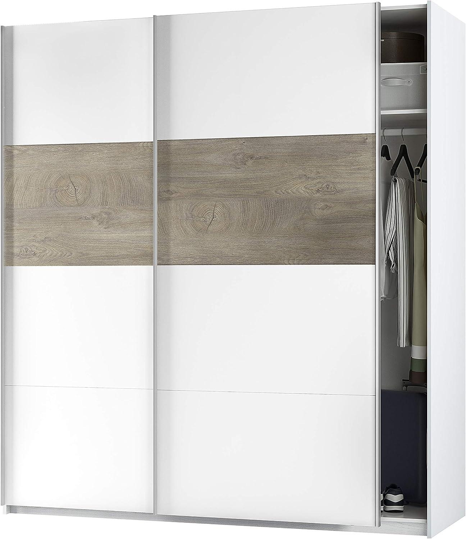 Armario 2 Puertas Correderas para Dormitorio o Habitación, Modelo Aikos, Acabado en Blanco Artik y Roble Alaska, Medidas: 180 cm (Largo) x 200 cm (Alto) x 60 cm (Fondo)