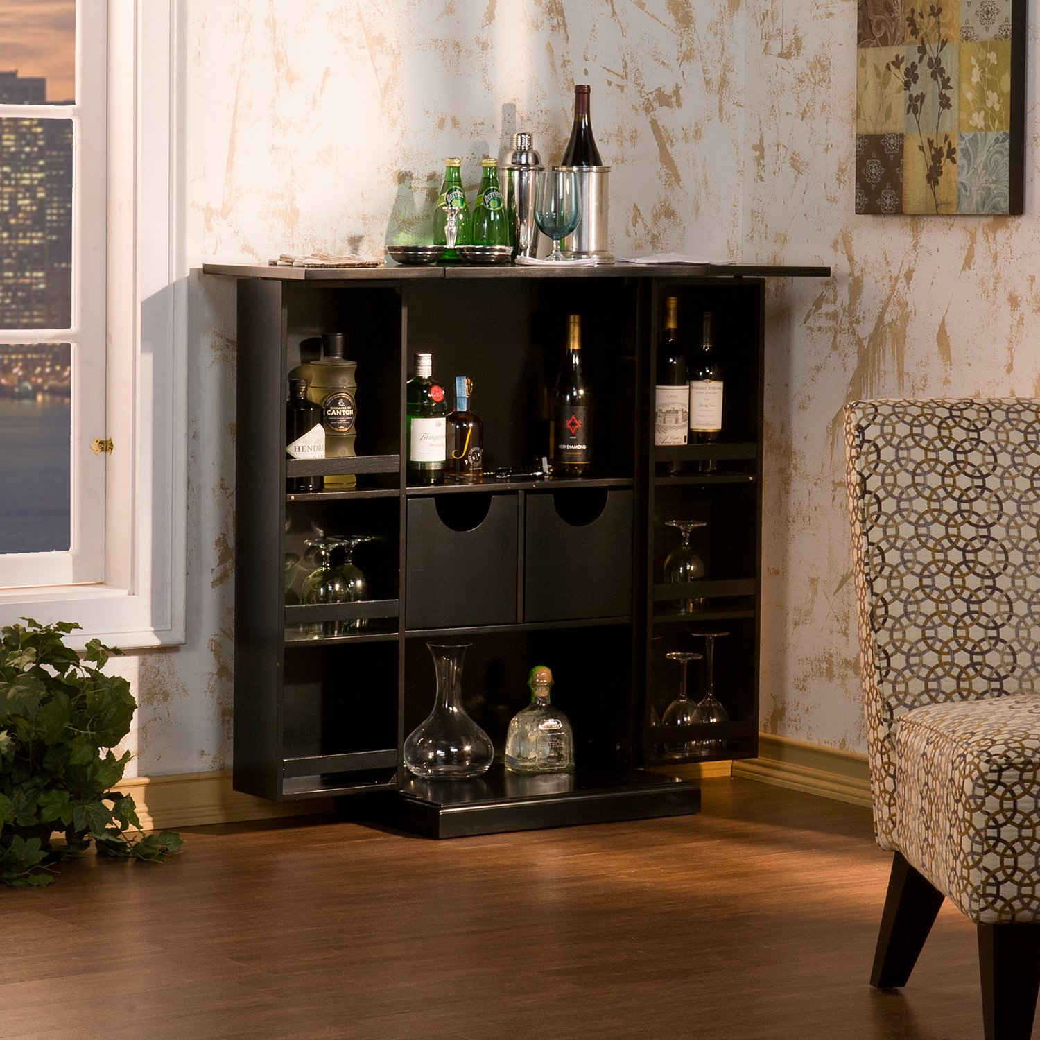 Fold Away Storage Bar For Wine Glasses - Black FurnitureMaxx