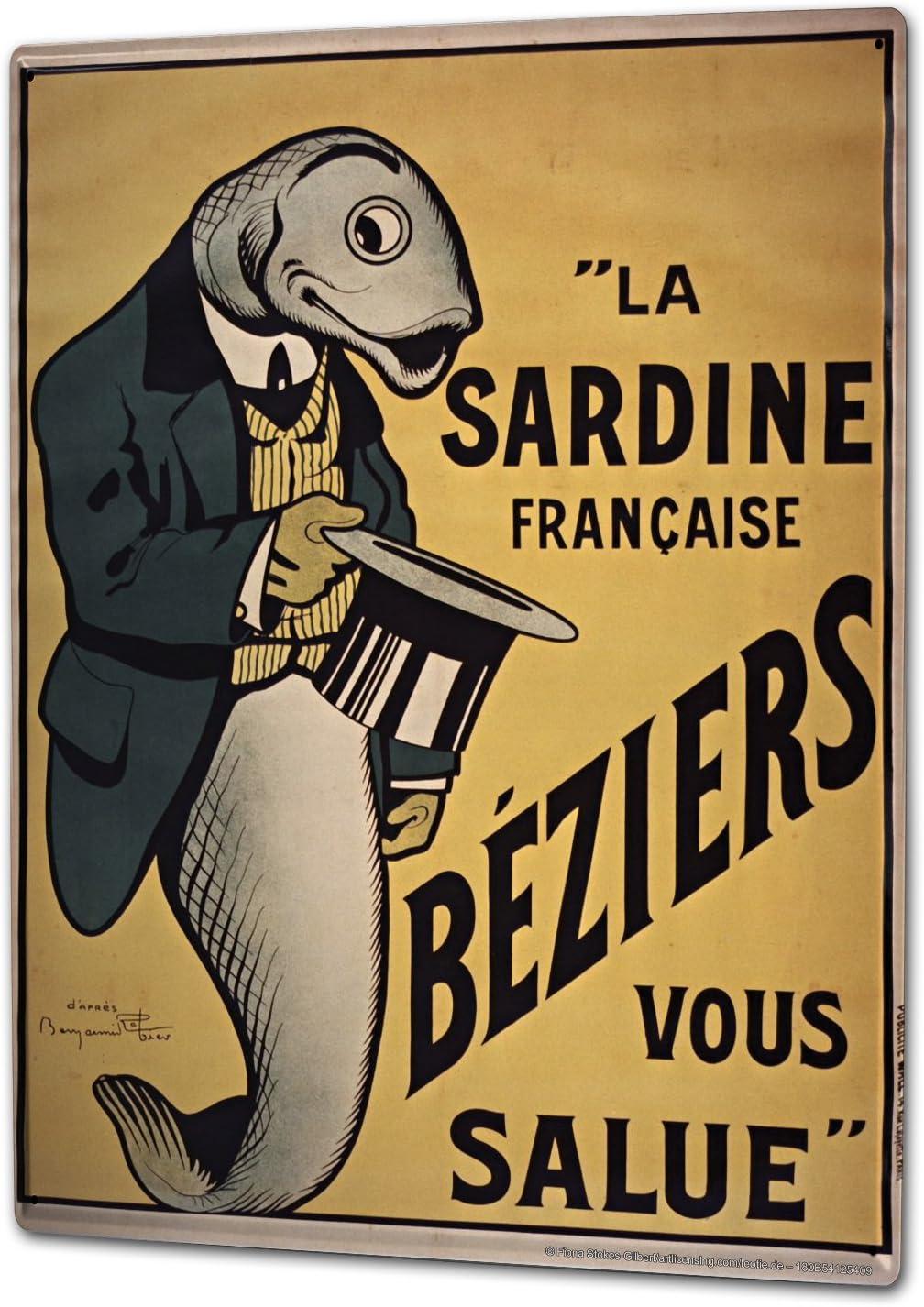 LEotiE SINCE 2004 Plaque en M/étal M/étallique Poster Mural tin Sign 40x30 cm Amusant Cuisine Queues de Sardines Chapeau