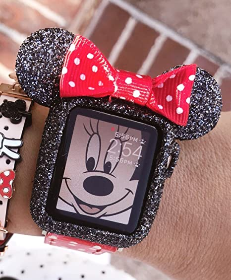 new product a1763 d2f11 Amazon.com: SBN Swarovski dust Mickey Mouse Apple Watch case (Black ...