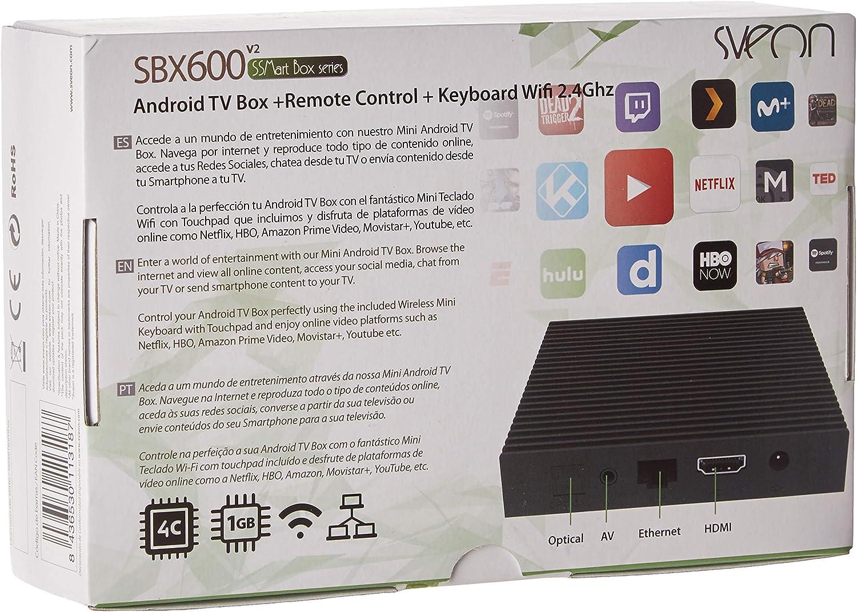 Sveon SBX600v2 - Android TV Box con Teclado Wireless compatible con Movistar+ & Netflix y HBO, Negro: Amazon.es: Electrónica