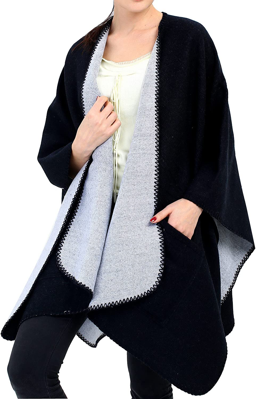 Women Poncho Shawl Blanket Scarf Wrap - Wool Pocket Cape Reversible Black Ruana
