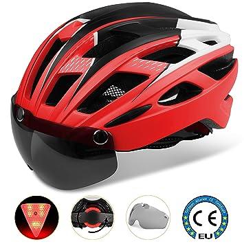 Shinmax Casco Bicicleta con luz, con Visera Magnética Desmontable Gafas de Protección Skateboarding Ski & Snowboard