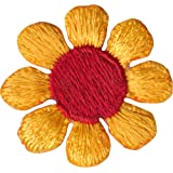 Daisy Flower - Yellow with Red Center - Embroidered Sew or Iron on Patch