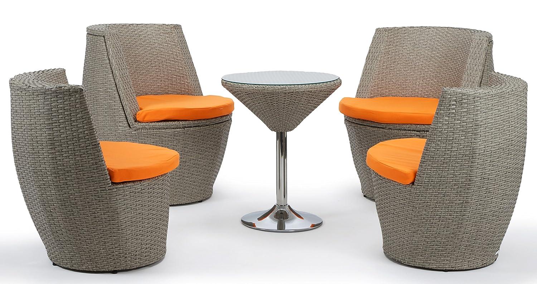 deluxe rattan sitzgruppe verona grau braun aufgeraut 5 teilig alurahmen kissenbez ge orange. Black Bedroom Furniture Sets. Home Design Ideas