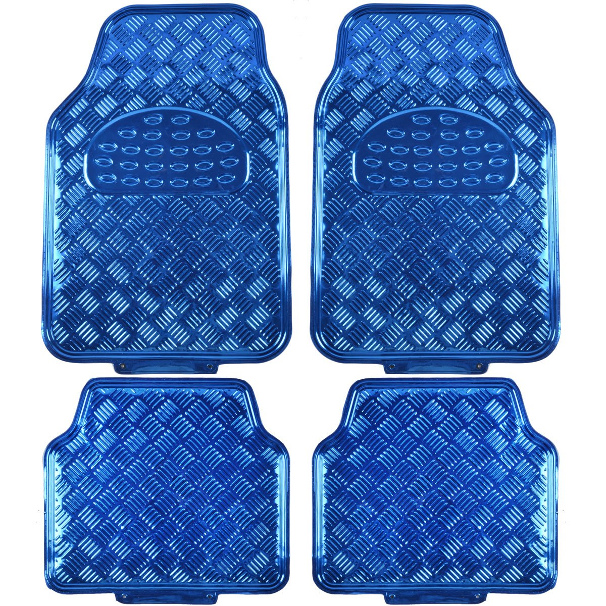 Amazon.com: BDK MT-641-BL Universal Fit 4-Piece Set Metallic Design Car  Floor Mat - Heavy Duty All Weather With Rubber Backing (Blue): Automotive