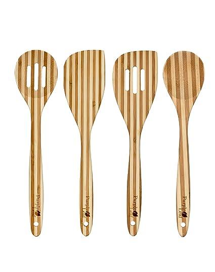 Set de utensilios madera de cocina de bambú de 4 piezas 30cm ♻ instrumentos para