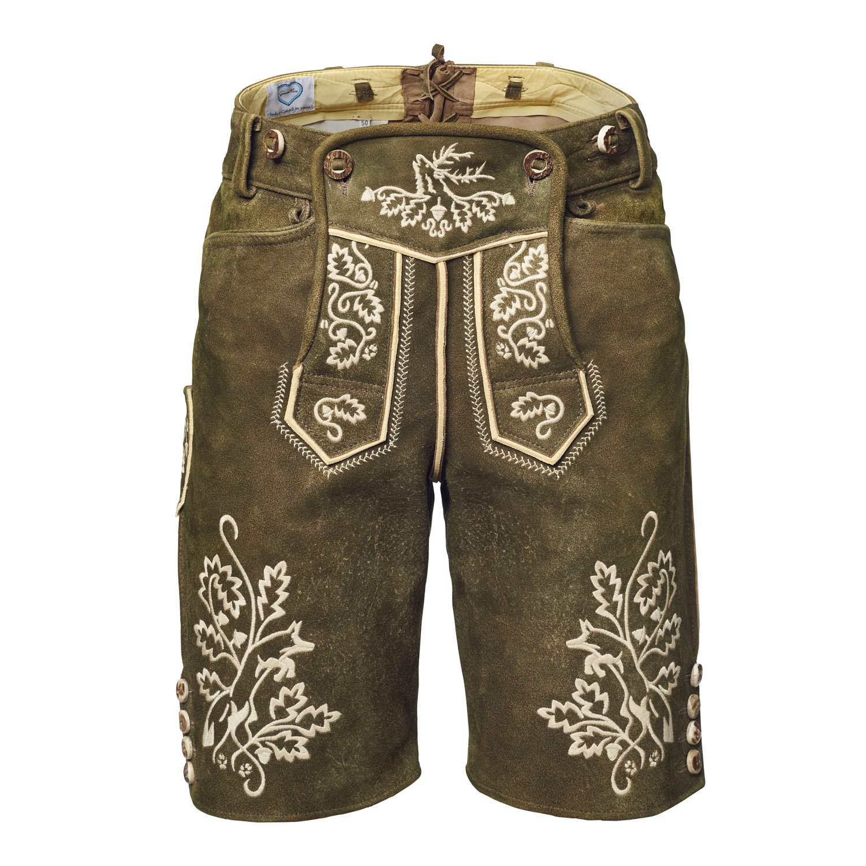 GaudiHerz Lederhose in braun und weißem Stick - Die Lederhosn ist eine Designer-Tracht mit Wildbock-Leder in Top-Qualität für dein perfektes Erlebnis auf dem Oktoberfest oder der Wasen
