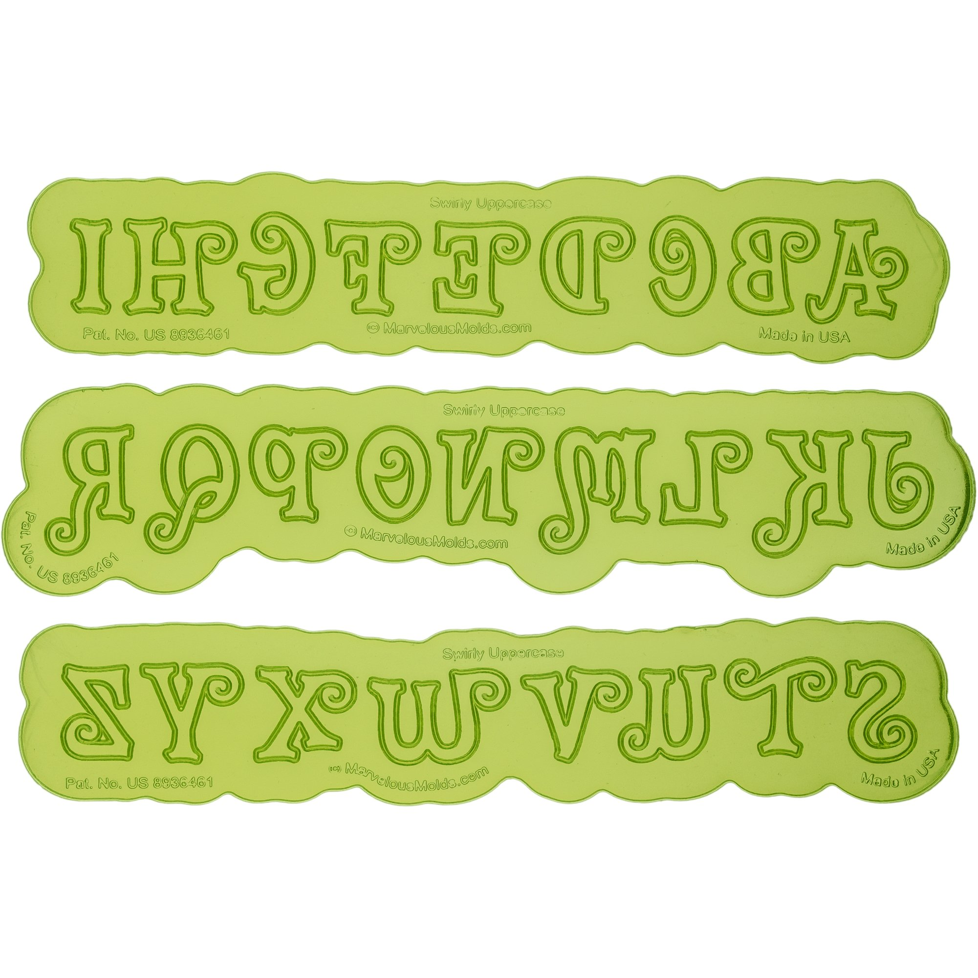 Swirly Uppercase Letter Maker | Flexabet Silicone Cutter and Mold for Cakes by Marvelous Molds