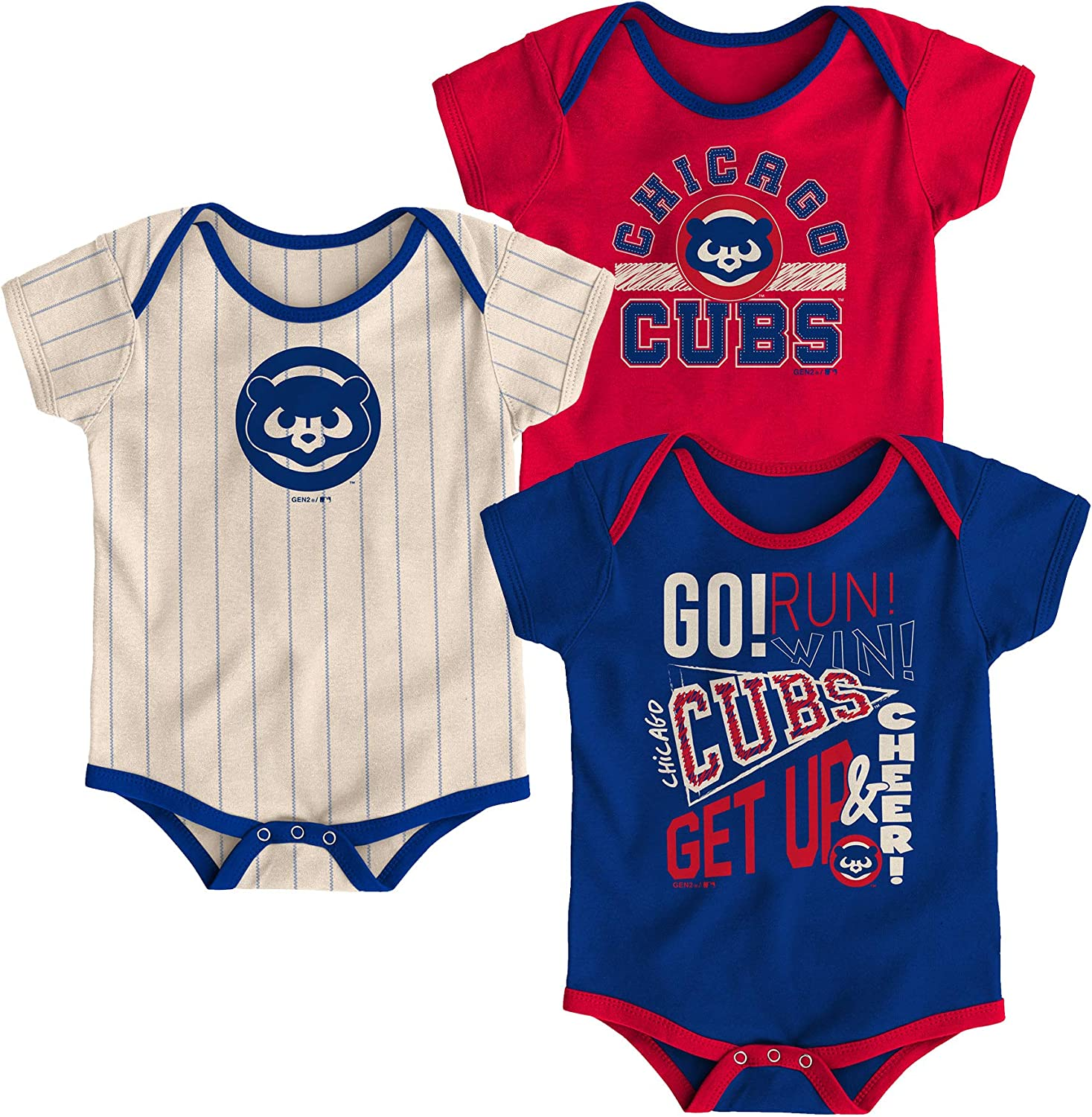 MLB Kansas City Royals Majestic Creeper Infant 3 Piece Bodysuit Set New W Tags