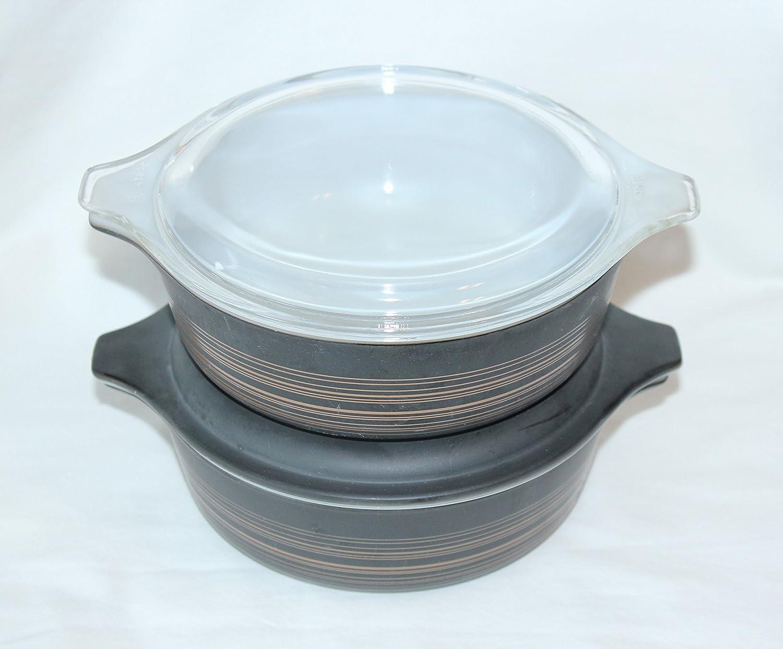 4 PIECE SET - Vintage Pyrex TERRA 1 Pint Cinderella Covered Casserole Baking Dish w/ Clear Lid
