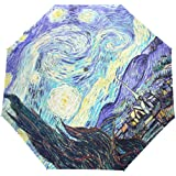 YZGO Starry Nights Art Print Windproof & Waterproof Compact Travel Umbrella Canopy Auto Open Umbrella Easy Carrying Umbrellas for Car