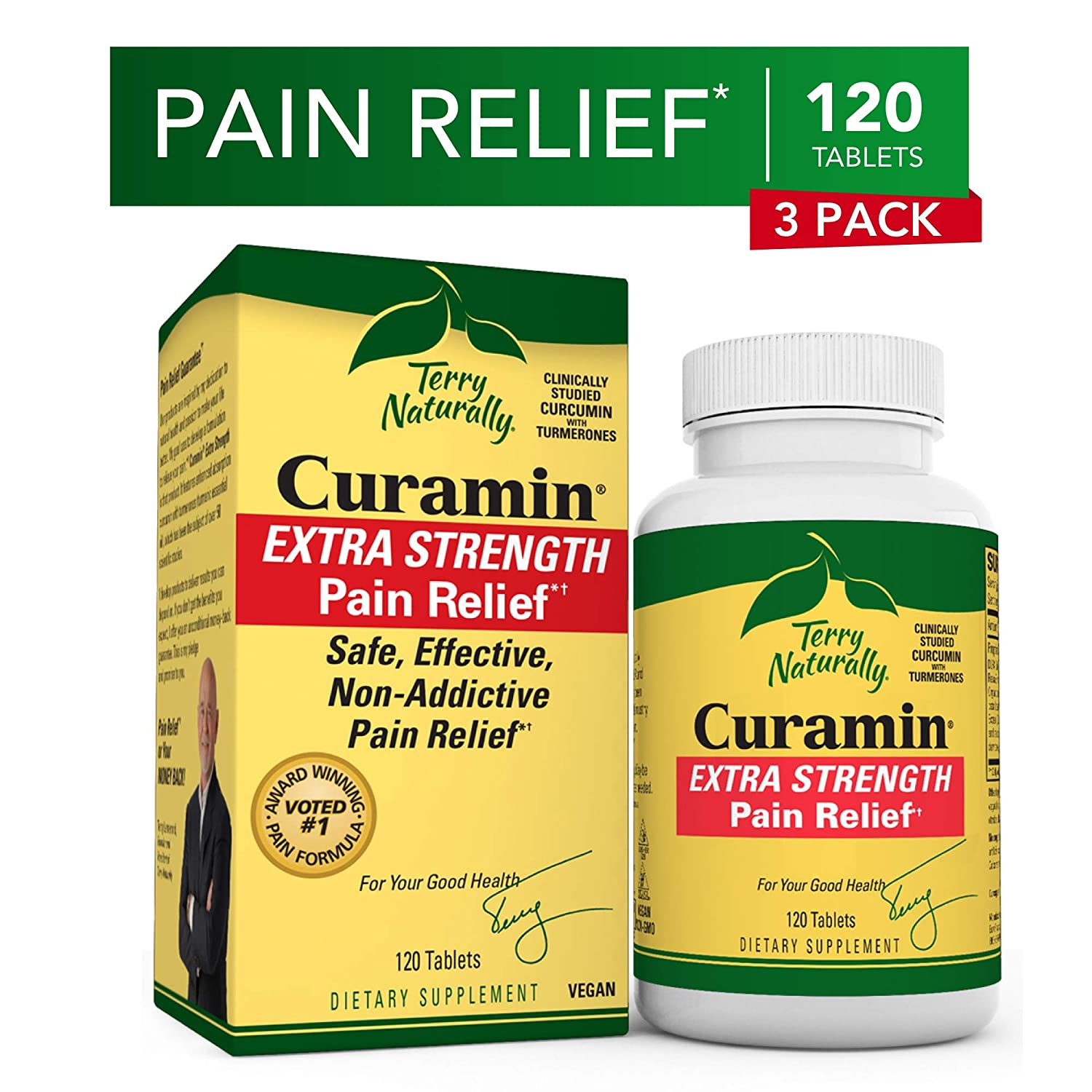 Terry Naturally Curamin Extra Strength 3 Pack – 120 Vegan Tablets – Non-Addictive Pain Relief Supplement With Curcumin, Boswellia DLPA – Non-GMO, Gluten-Free – 120 Total Servings