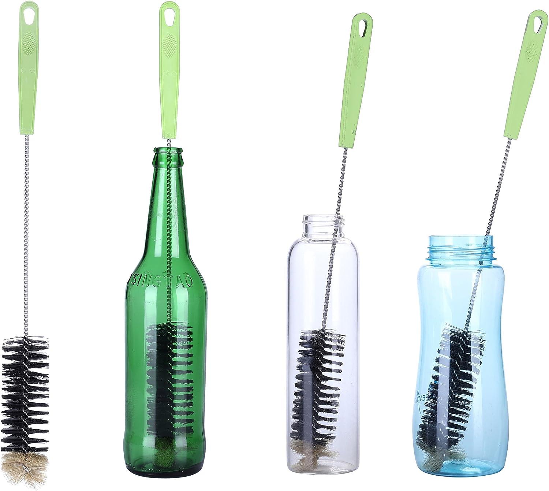 Cepillo de Botellas,Cepillo de Limpieza con Largo Mango Ideal Para Limpiar Botellas de cerveza estrecha,, Termos, Carafes, (40cm)
