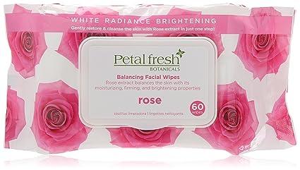 Bio Creativo Laboratorio Calmante Toallitas Limpiadoras, Pétalo Fresco Botánicos Blanco Radiance Brillo Rosa, 60