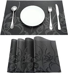 rockcloud Set of 4 Placemats & 4 Pcs Coasters Heat-Resistant Stain Resistant Anti-Skid Washable PVC Table Mats