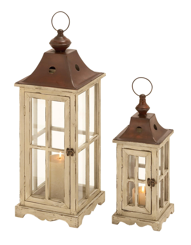 Deco 79 53165 Wood Metal Glass Lantern (Set of 2) 26'', 18'' H