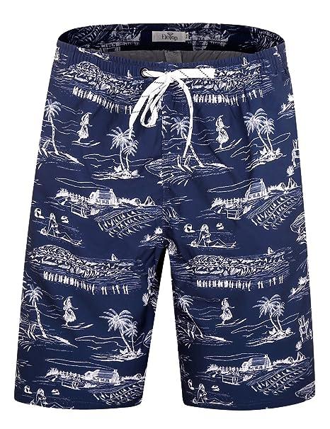 f025b17a3e ELETOP Men's Swim Trunks Quick Dry Board Shorts Beach Holiday Swimwear Print  Bathing Suits Hawaii Navy