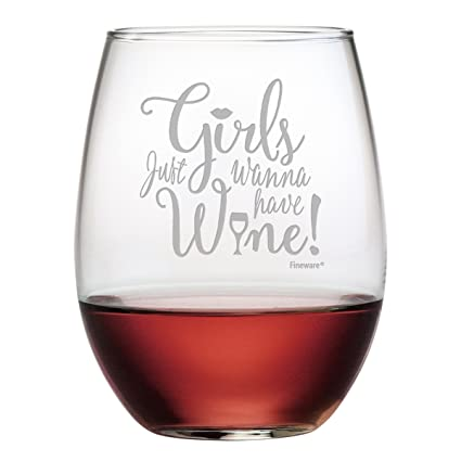 girls just wanna have wine 15 oz funny wine glass for women mom