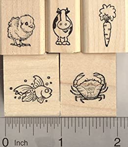 5 Tiny Rubber Stamps for Menu and Place Card Marking: includes Carrot, Chick, Fish, Cow, and Crab (Vegetarian, Chicken, Fish, Beef, and Seafood)