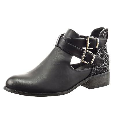 meilleur site web 9d283 fee9c Sopily - Chaussure Mode Bottine Chelsea Boots Ouverte Cheville Femmes  Pailettes lanière Boucle Talon Bloc 3.5 CM - Noir