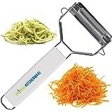 Économe double julienne & éplucheur à légumes ultra-tranchant en acier inoxydable avec brosse de nettoyage & protection pour lames