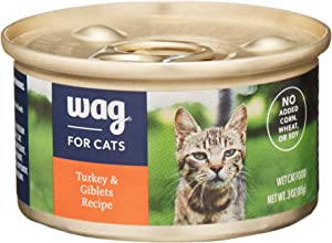 Amazon Brand - Wag Wet Cat Food, Turkey & Giblets Recipe, 3 oz Can (Pack of 24)