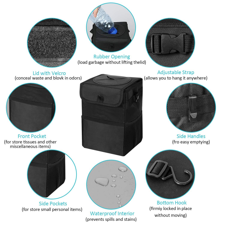 ROOHUA Waterproof Car Trash Can 100/% Leak-Proof Car Organizer Portable Car Garbage Bin Multipurpose Trash Bag for Car /- Black Garbage Bag Hanging for Headrest with Lid and 3 Storage Pocket