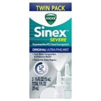 Vicks Sinex SEVERE, Nasal Spray, Original Ultra Fine Mist Sinus Decongestant for Fast Relief of Cold & Allergy Congestion, Sinus Pressure Relief, Twin Pack, 2 0.5 FL OZ (15 ml)