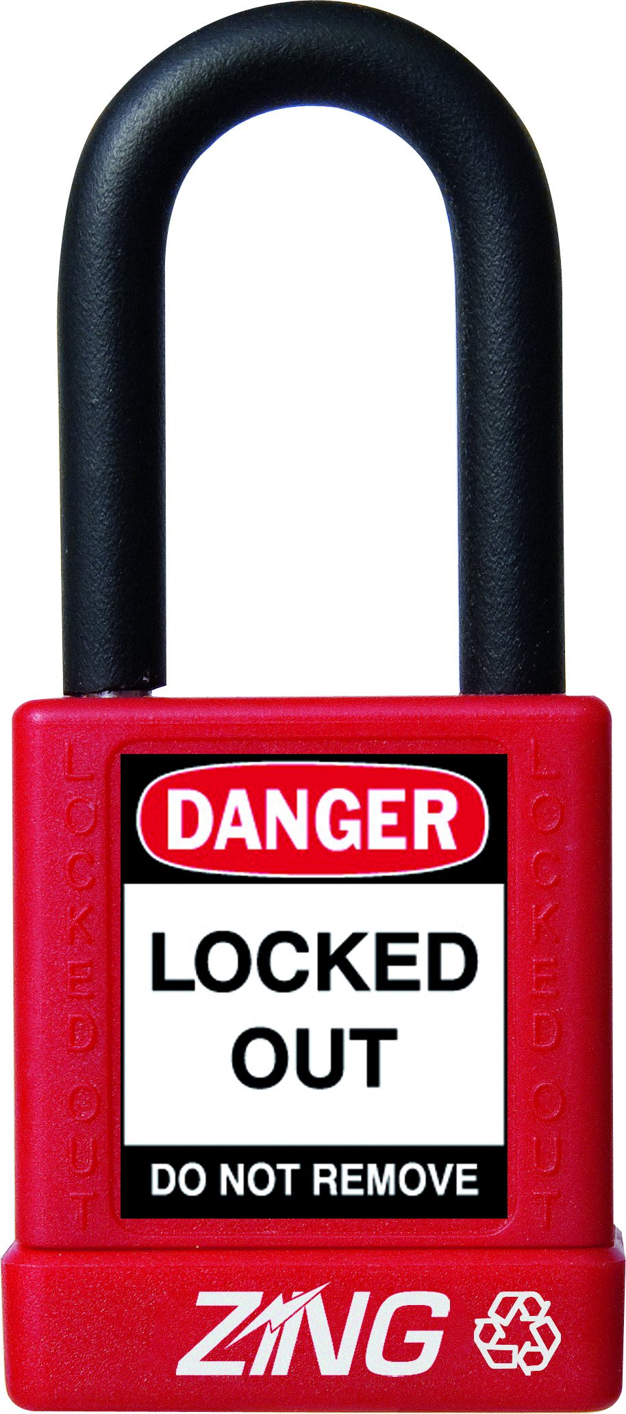 ZING 7030 RecycLock Safety Padlock, Keyed Different, 1-1/2'' Shackle, 1-3/4'' Body, Red