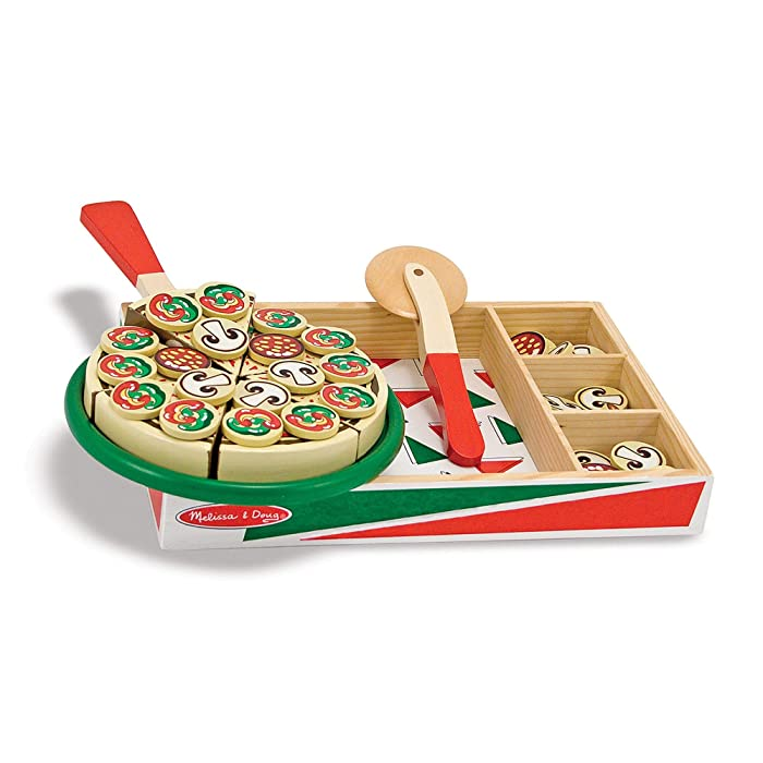 Melissa & Doug Pizza Party Wooden Play Food, Pretend Play Pizza Set, Self-Sticking Tabs, 54+ Pieces, 1.8″ H × 9″ W × 13.3″ L