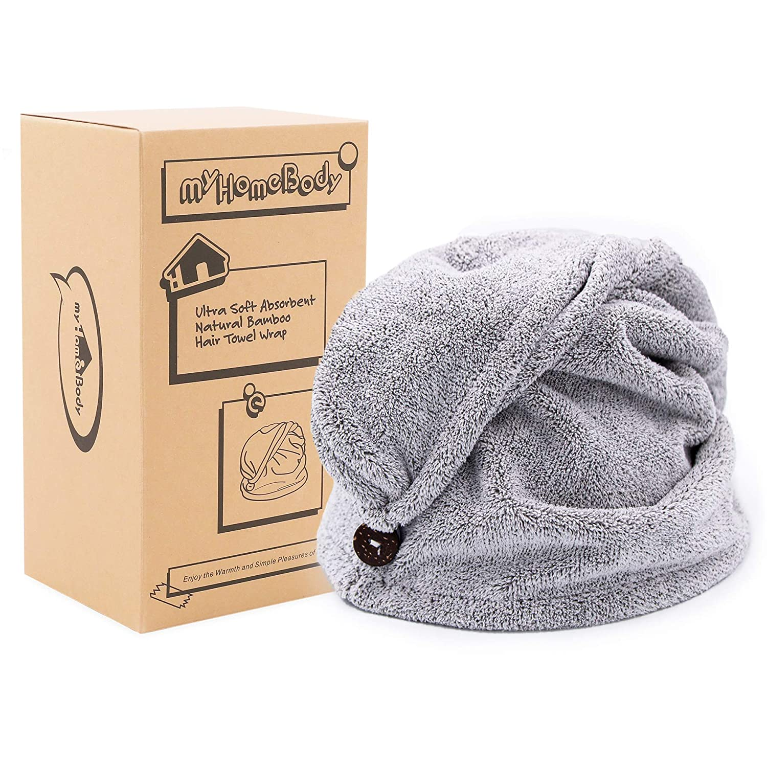 myHomeBody Hair Towel Wrap | Luxury Anti-Frizz Rapid-Dry Hair-Drying Turban | Ultra Soft and Quick Drying Absorbent Bamboo Fiber, with Coconut Shell Button