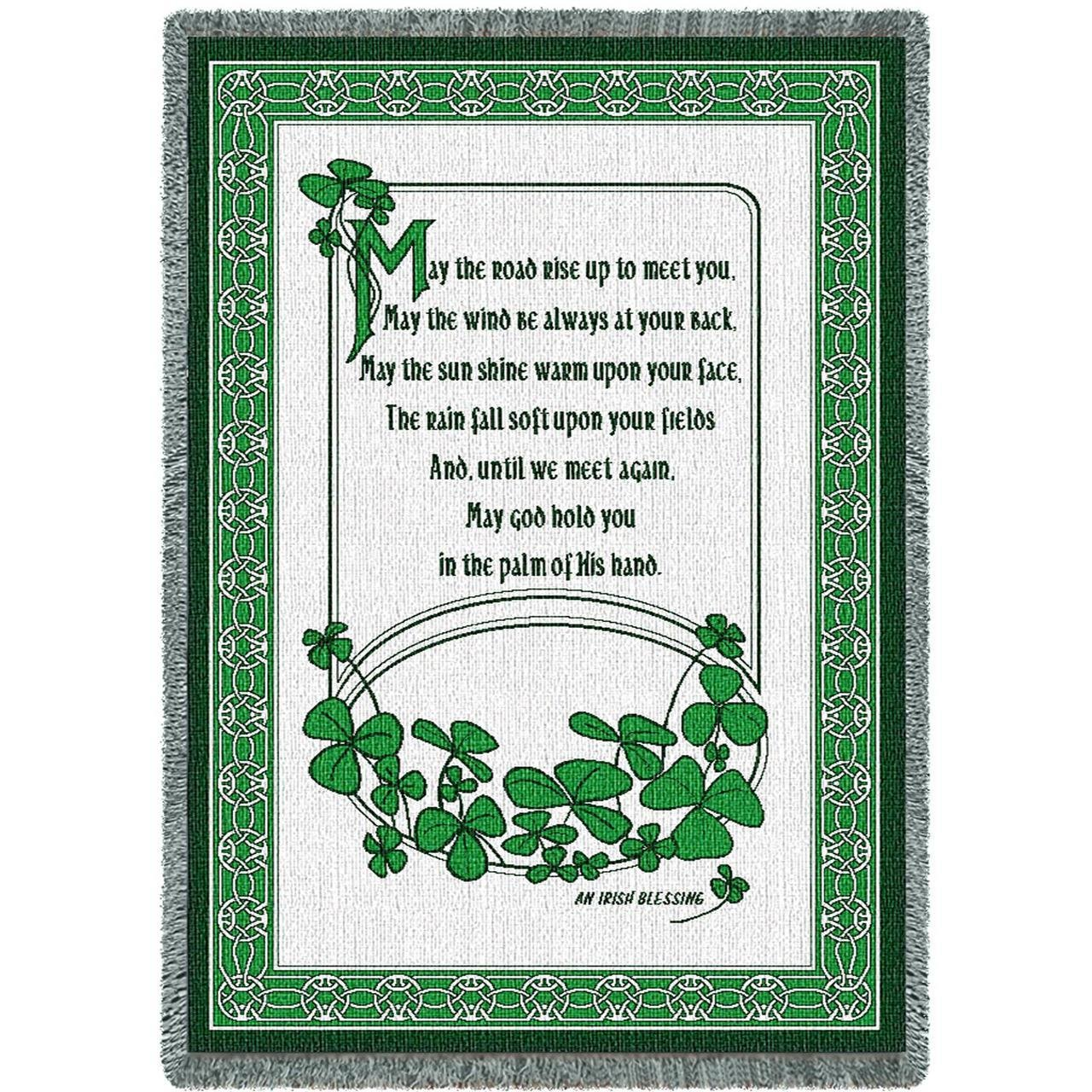 "THROWS IRELAND 51/"" x 68/"" CELTIC IRISH BLESSING TAPESTRY THROW BLANKET"