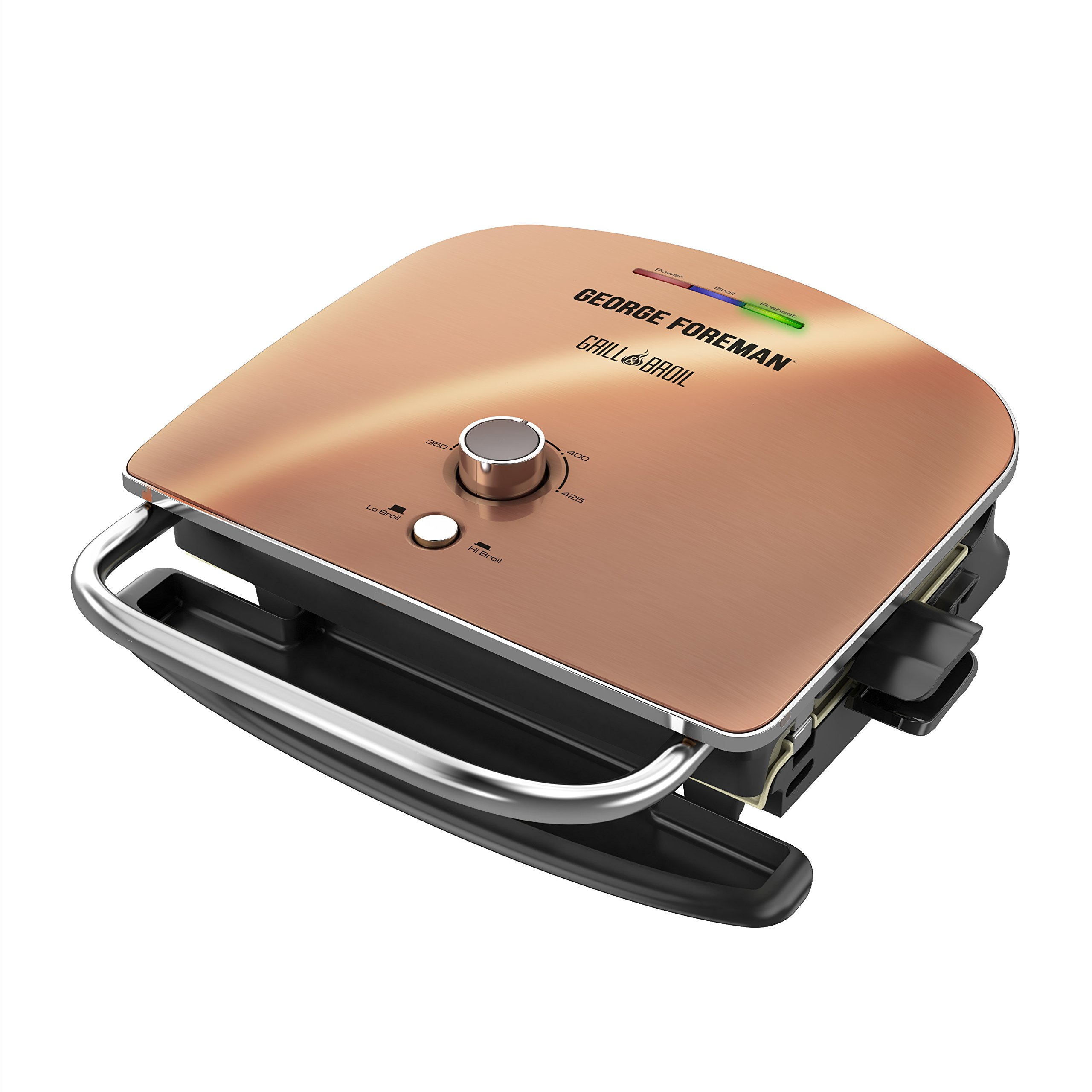 George Foreman Grill & Broil, 4-in-1 Electric Indoor Grill, Broiler, Panini Press, and Top Melter, Copper, GRBV5130CUX by George Foreman