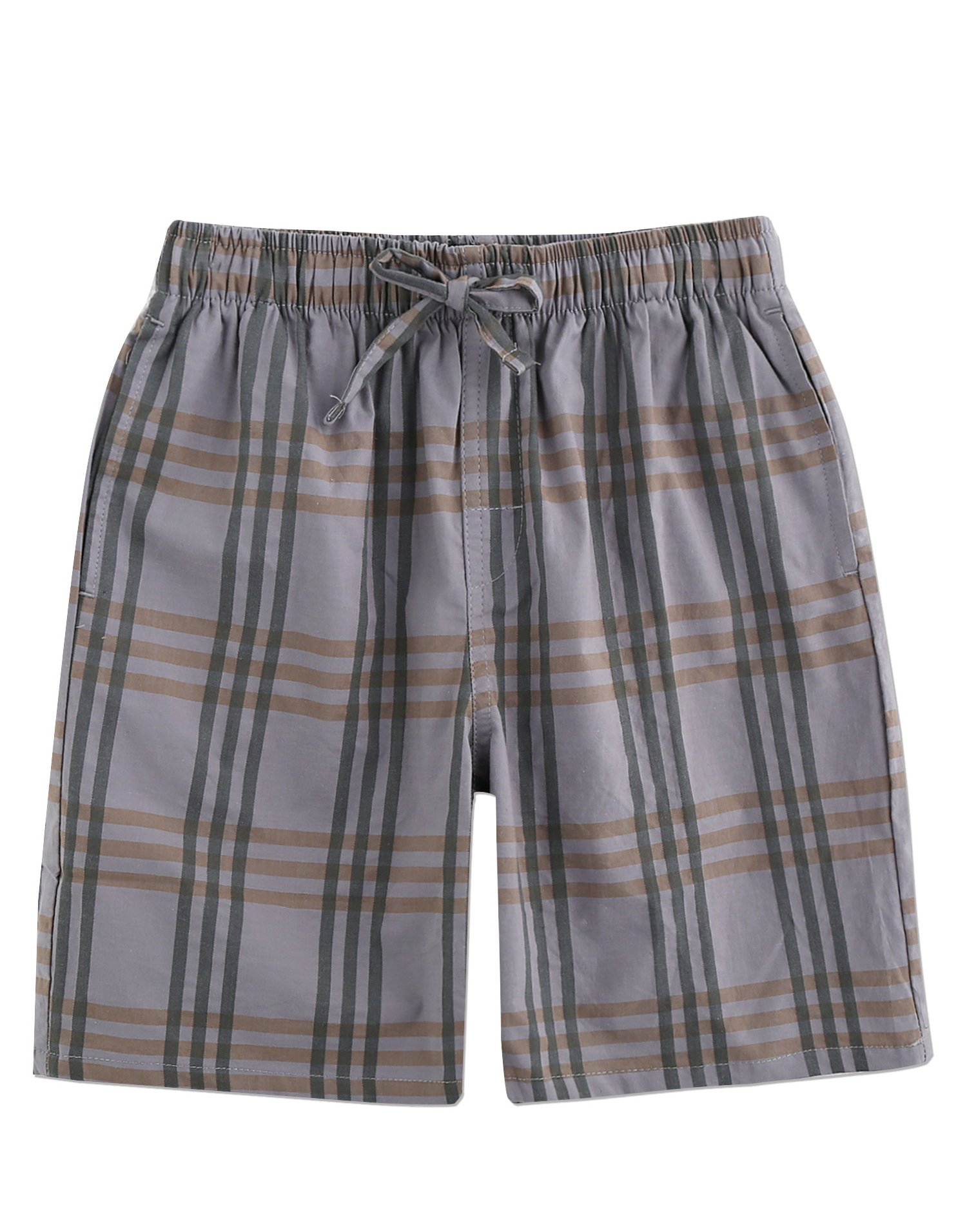 TINFL Boys Plaid Check Soft 100% Cotton Lounge Shorts BSP-04-Lightgrey-YL