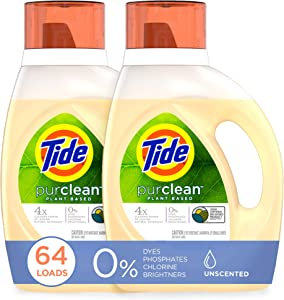 Tide Purclean Plant-Based Laundry Detergent Liquid, Unscented, HE Compatible, Pack of 2, 64 Loads Total (Packaging May Vary)