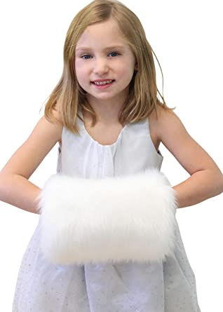 Women Wedding Bridal Hand Muff Fluffy Faux Fur Mittens Warmer Accessories Gloves